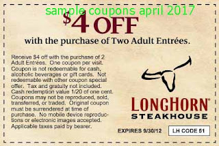 free Longhorn Steakhouse coupons april 2017
