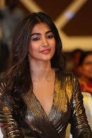 Pooja Hegde looks glamarous in deep neck sleevless short tight golden gown at Duvvada Jagannadham thank you meet function 132.JPG