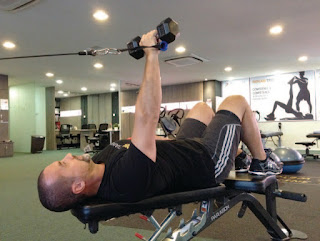 Iso-integration using a dumbbell bench press (finish position)