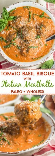 Tomato Basil Bisque With Italian Meatballs