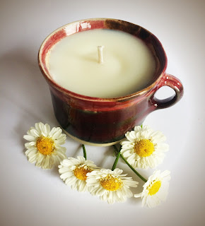 Burgundy Curragh Pottery Cup Candle by Purity Belle Candles