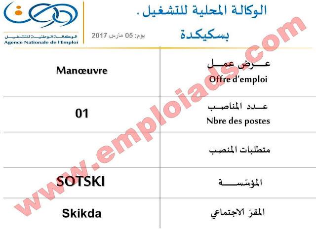 اعلان عروض عمل لفئة اصحاب المهن ولاية سكيكدة مارس 2017