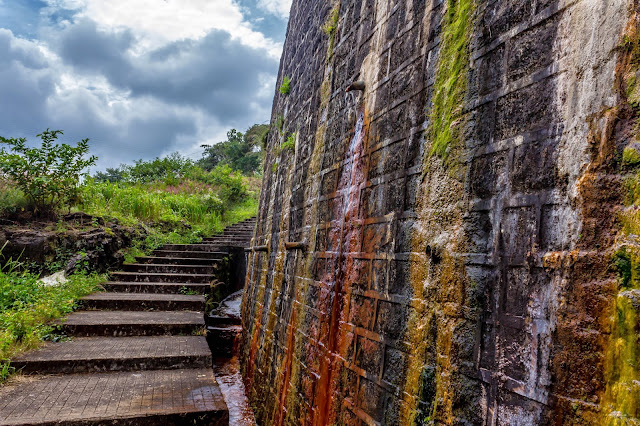 Neerar Dam - steps taking to the bottom of the dam