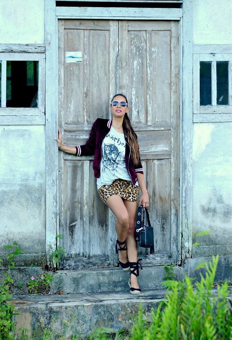 Jacky Luxury, Burgundy velvet bomber, Leopard skirt, Motorhead shirt, Brooklyn Camera bag Michael Kors, HM ballerina espadrilles, Tamara Chloé, TC Style Clues, Namar, Kei Kecil, Indonesia