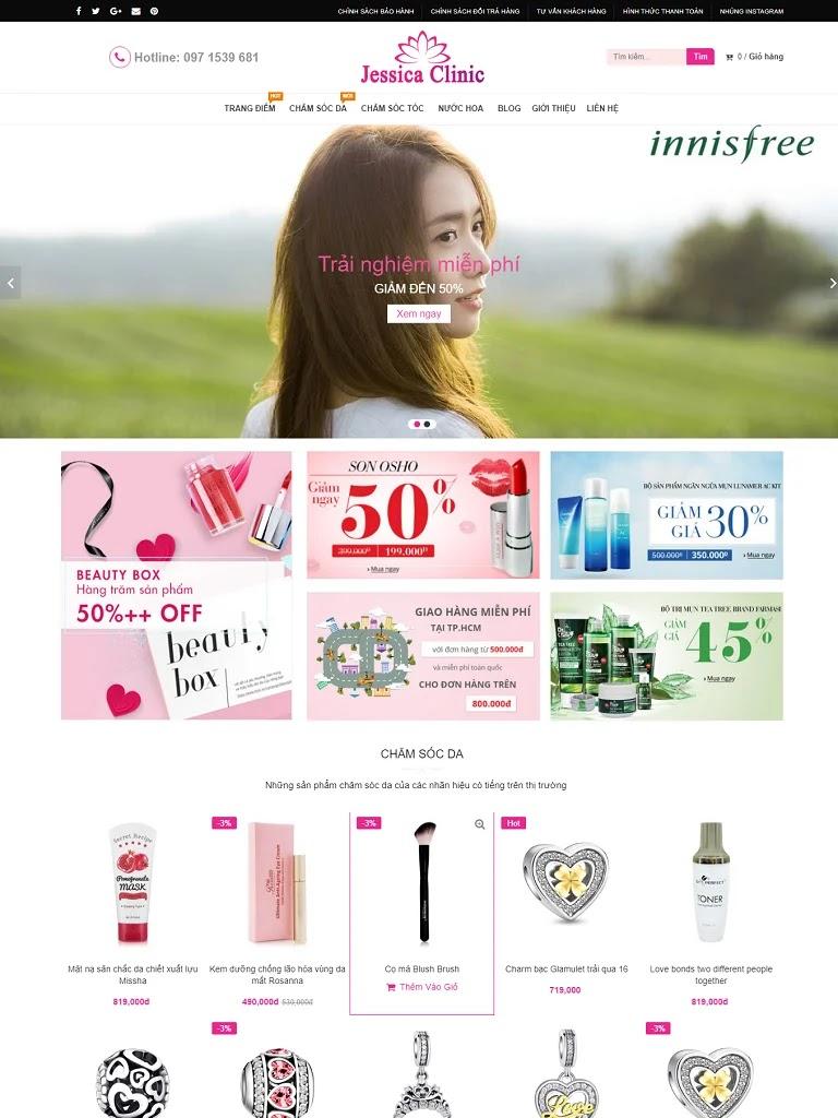 Template blogspot bán hàng bán mỹ phẩm Jessica Clinic - Ảnh 1