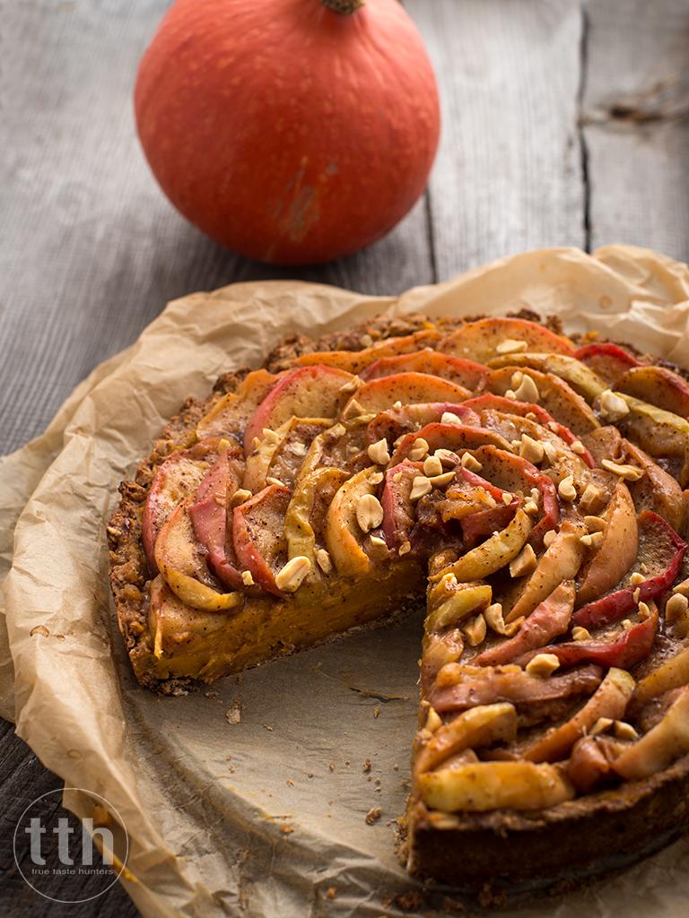 Tarta z dyni z prazonymi jablkami - przepis (weganskie, bezglutenowe, bez cukru)