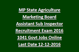 MP State Agriculture Marketing Board Assistant Sub Inspector Recruitment Group 2 Exam 2016 1041 Govt Jobs Online Last Date 12-12-2016