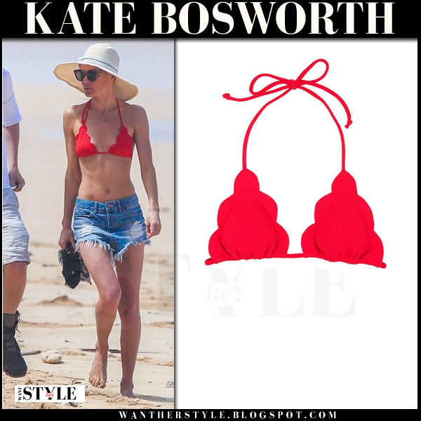 Kate Bosworth in red scallop bikini top marysia swim what she wore beach style