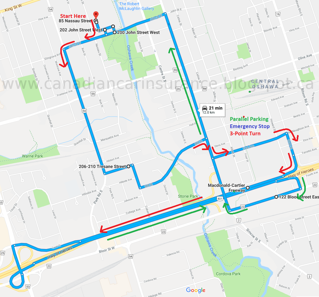 Oshawa G Road Test Route Maps