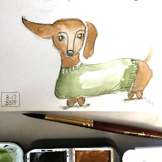 Dachshund sketch in pencil and watercolor with flying ear - by Amy Lamp