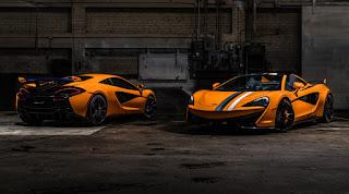 McLaren 570S Coupé 'Papaya Spark' (2019) Rear Side and 570S Spider 'Papaya Spark' (2019) Front Side