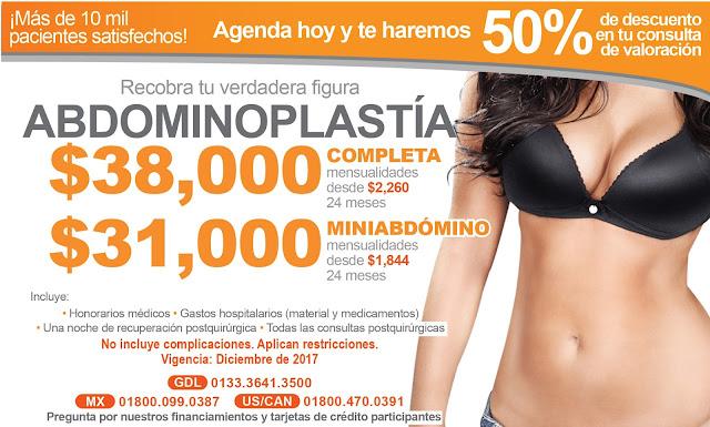 Precio Paquete Cirugia Plastica Abdomen Abdominoplastia Lipectomia Guadalajara Mexico
