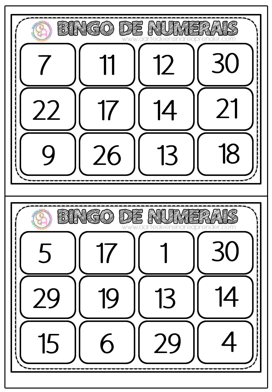 Bingo De Numerais A Arte De Ensinar E Aprender