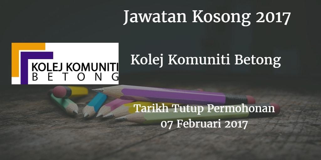 Jawatan Kosong Kolej Komuniti Betong 07 Februari 2017