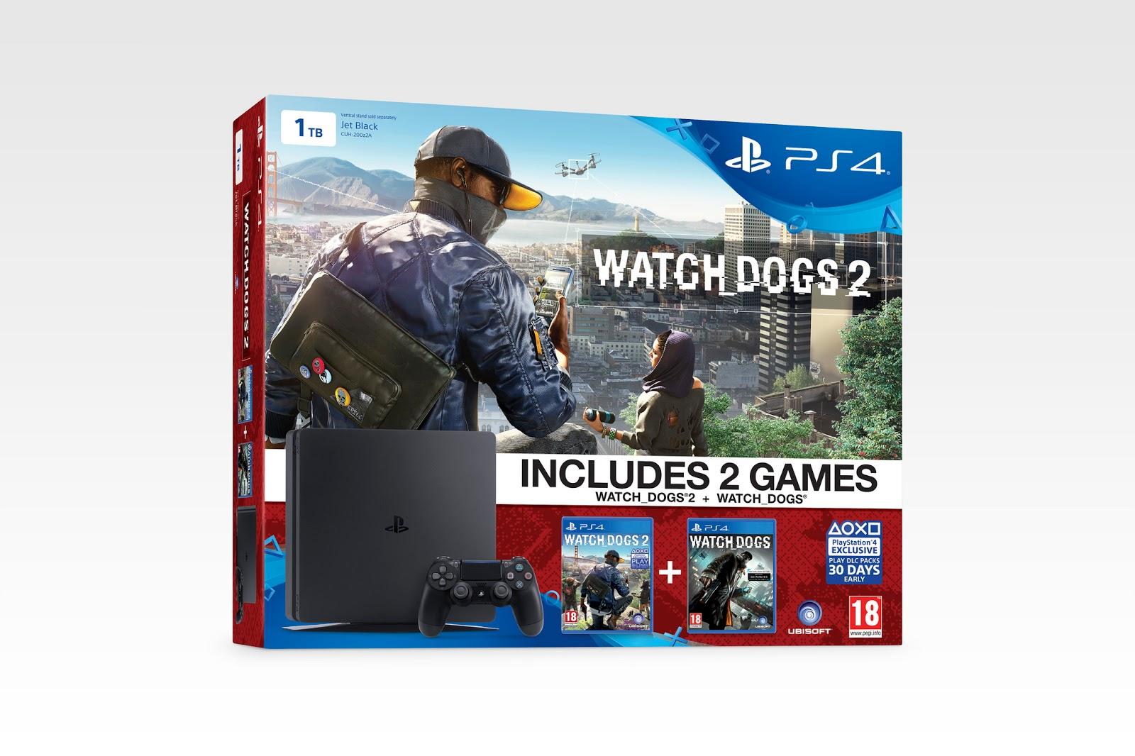 Se muestran tres packs de PS4 Slim con videojuegos