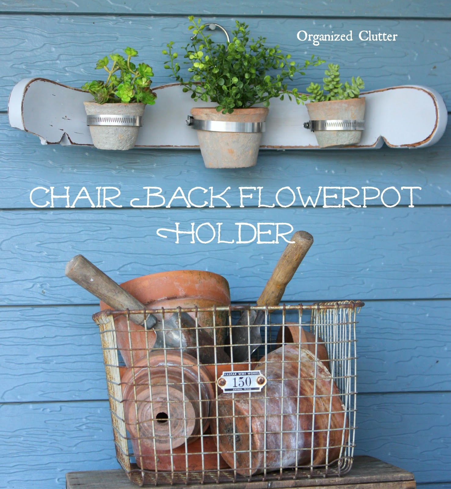 Re-purposed Chair Back Terracotta Pot Display www.organizedclutter.net