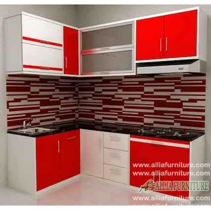 kitchen set bentuk L tembok model cherry