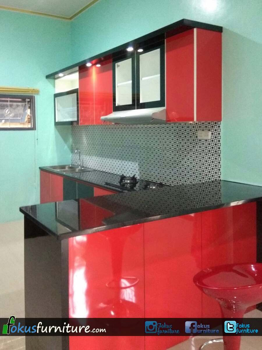 Kitchen Set Merah Hitam Di Lebak Furniture Kitchen Set Minimalis