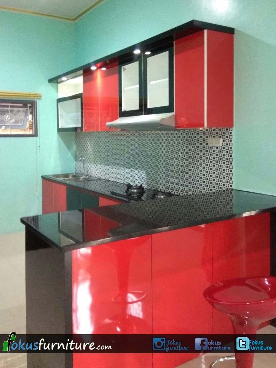 Kitchen set merah hitam di lebak furniture kitchen set minimalis