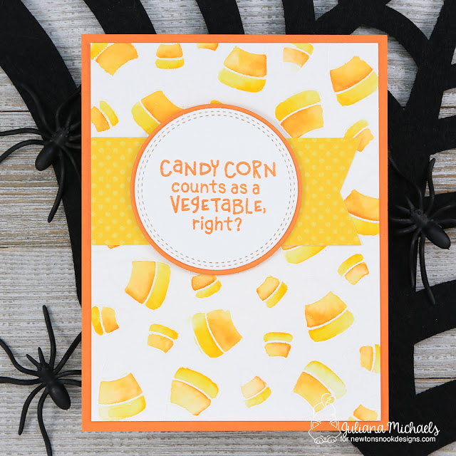 Halloween Card by Juliana Michaels featuring Newton's Nook Designs Candy Corn Stamp Set