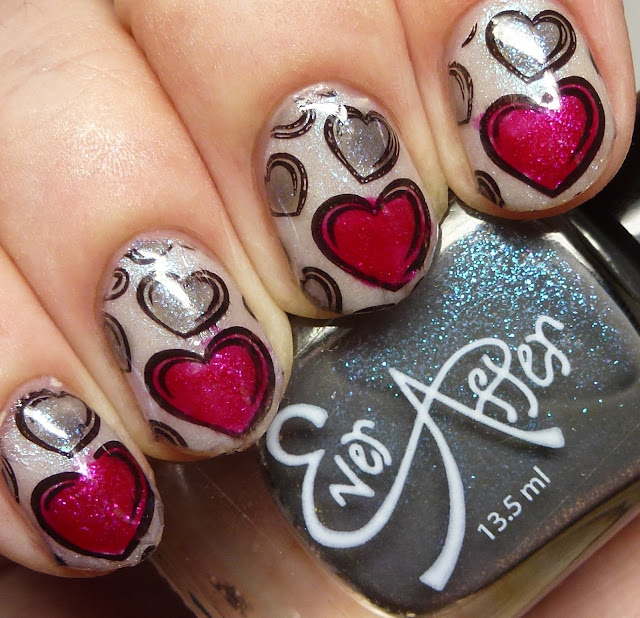Ever After Polish Heart Breaker Trio stamping nail art