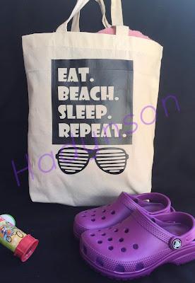 Tygväska 3 med tryck, eat, beach, sleep, repeat