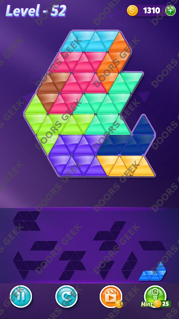 Block! Triangle Puzzle Proficient Level 52 Solution, Cheats, Walkthrough for Android, iPhone, iPad and iPod