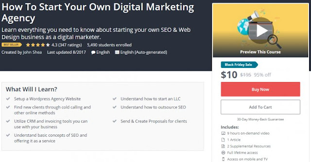 [BESTSELLING][95% Off] How To Start Your Own Digital Marketing Agency| Worth 195$