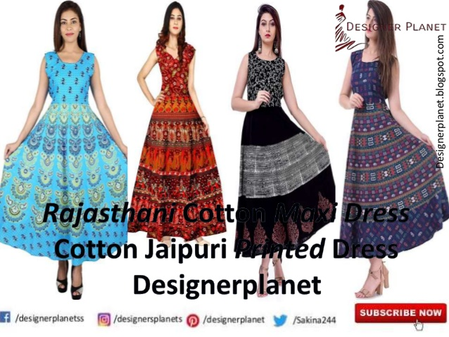 Maxi Dresses for Women | Cotton Jaipuri Printed Maxi Dress | Designerplanet