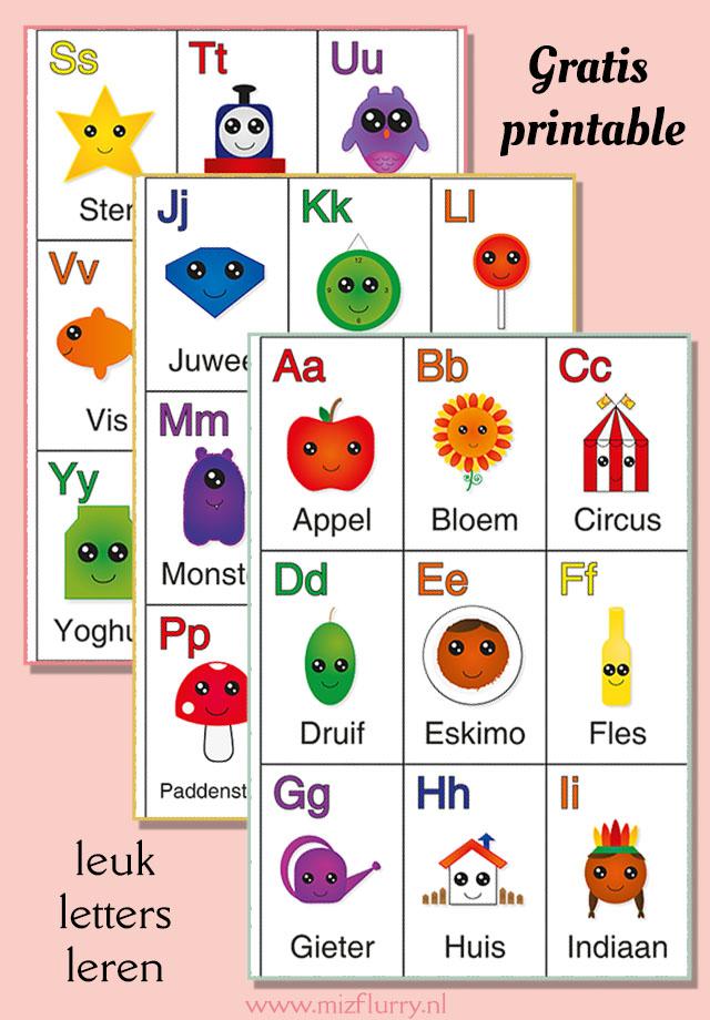 Leuk letters leren voor peuters met deze vrolijke alfabet kaarten. Gratis printable/te downloaden.
