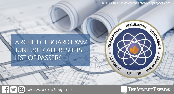 List of Passers: June 2017 Architect board exam ALE results