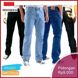 NAG201 Celana Jeans Standard Pria Warna Biru Dan Hitam Bmgshop