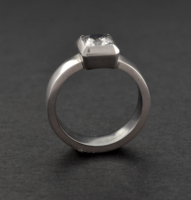 Statement silver quartz ring