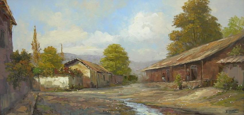 Cuadros pinturas oleos paisajes de casas de campo para for Pinturas para casas de campo