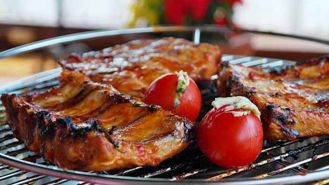 Spareribs on the Grill with Stuffed Cherry Tomatoes