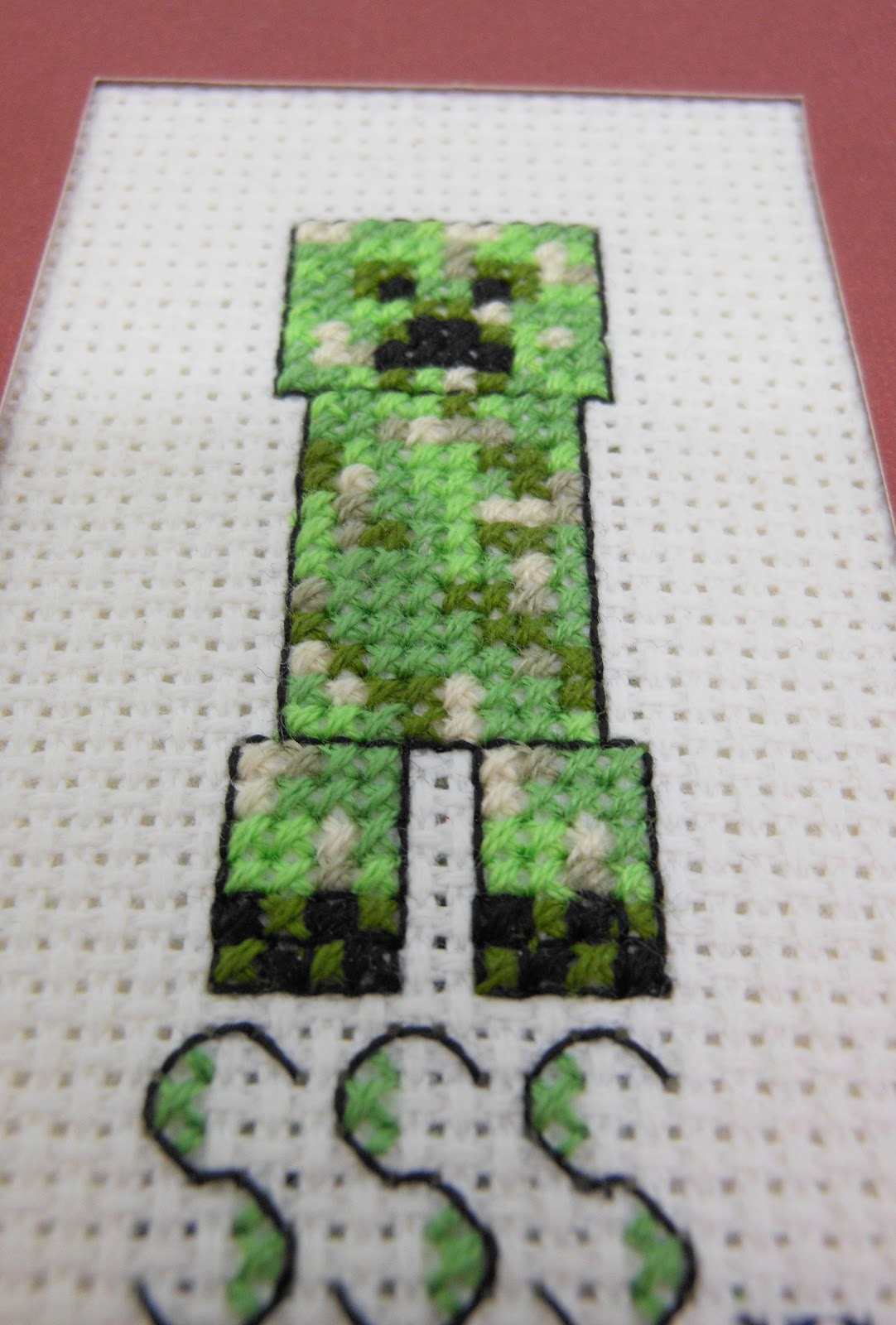 Sewing My Other Hobby Cross Stitched Creeper