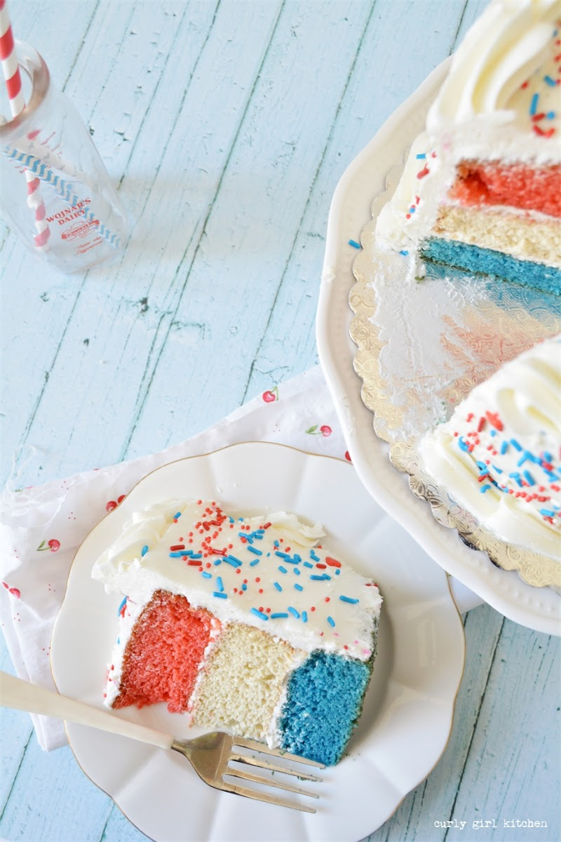 4th of July Cake, Red White and Blue Cake, Sprinkles Cake, Paper Straws, Paper Candles, Cake, 4th of July Desserts, 4th of July Baking