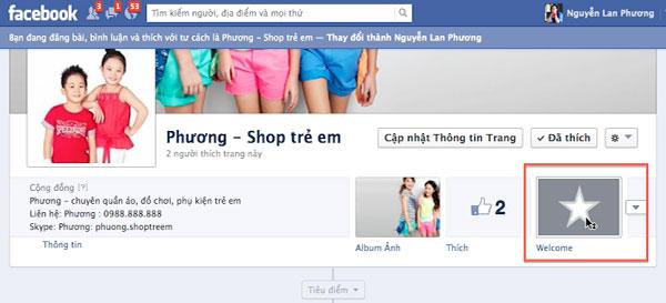 Xuat hien 1 tab fanpage facebook moi