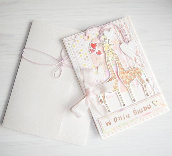 Kartka ślubna i ręcznie robiona koperta