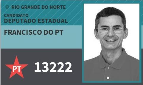 TRE-RN: reprova as contas de campanha do deputado estadual eleito Francisco do PT.