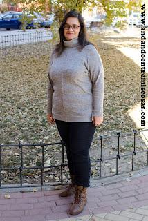 Jersey gris de cuello alto de Sammydress