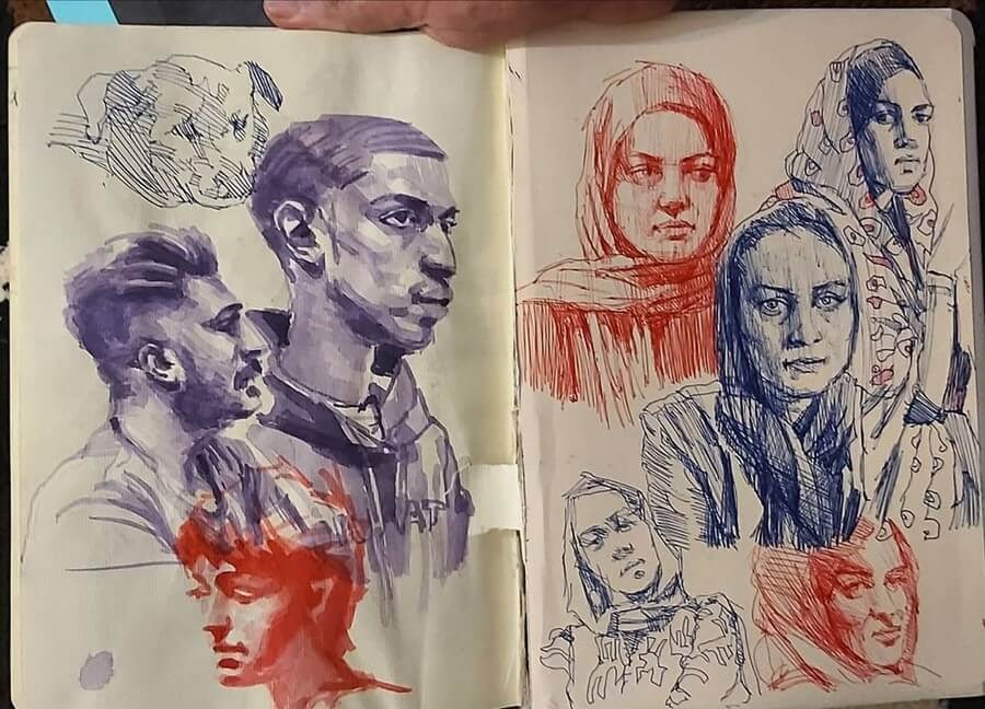 06-Color-Ballpoint-Pen-Soroush-Jahdi-Sketch-Portraits-www-designstack-co