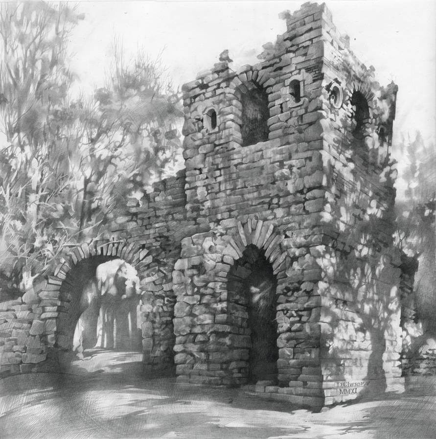 14-Ruin-in-Tsaritsino-Denis-Chernov-Urban-Architecture-Pencil-Drawings-www-designstack-co