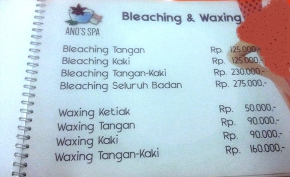 Daftar Harga Bleaching & Waxing - Ano's Spa