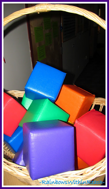 photo of: Basket to Organize Materials in Preschool (Organizational RoundUP via RainbowsWIthinReach)
