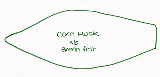 pattern husk - Espiga de Milho Verde em feltro