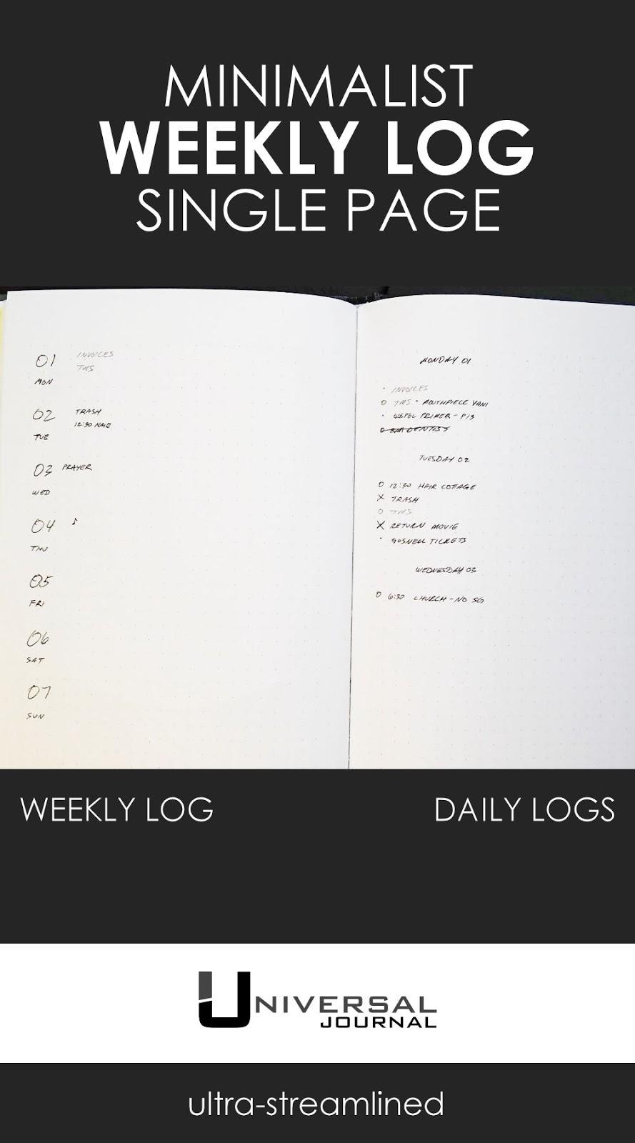 daily and weekly log minimalism