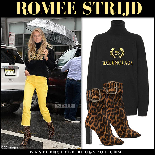 Romee Strijd in black balenciaga sweater, yellow pants and leopard saint laurent joplin boots model street fashion november 6