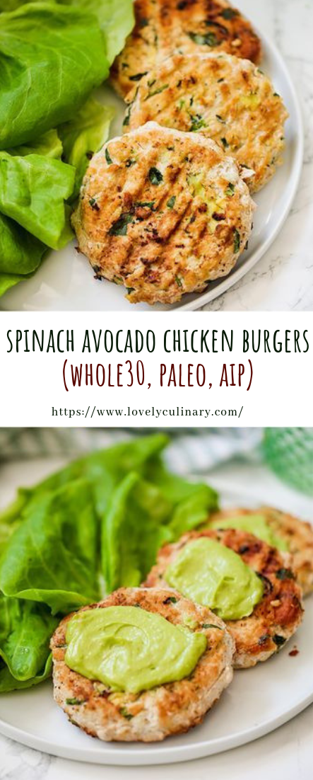 spinach avocado chicken burgers #Paleo #recipe #lunch