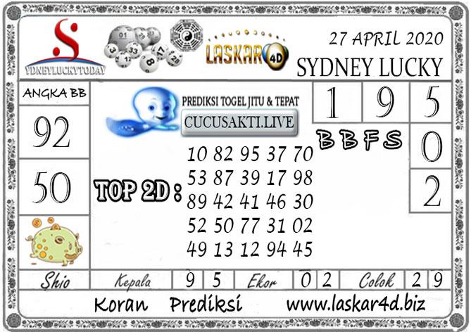 Prediksi Sydney Lucky Today LASKAR4D 27 APRIL 2020